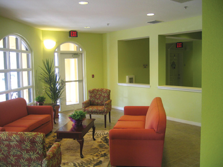 Small common areas provide communal living spaces where residents can gather.